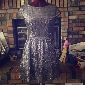 Silver Sequin Low-Back Dress